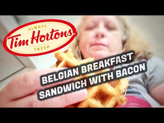 Tim Horton's Belgian Breakfast Sandwich With Bacon  🥓🍳
