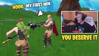 Tfue Gives A Random Noob His First Win For Christmas (Fortnite Funny Moments)